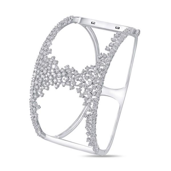 Lūvente 14kt White Gold Diamond Cuff Bracelet