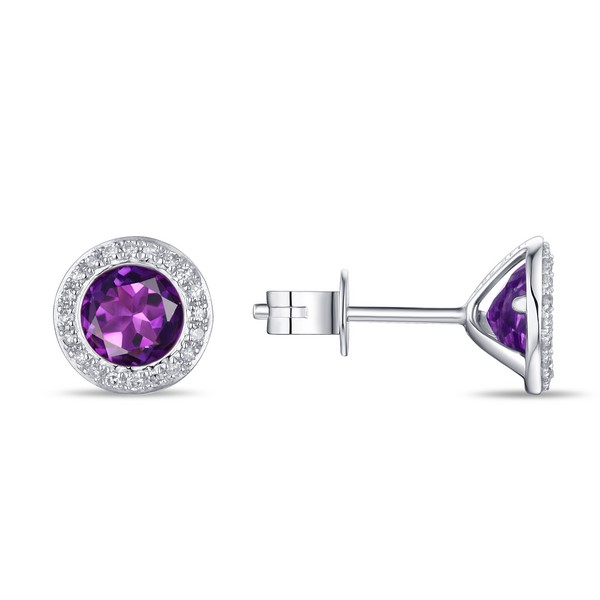 Lūvente 14kt White Gold Diamond and Amethyst Bezel Set Earrings