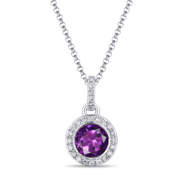Lūvente Ladies 14kt White Gold Diamond and Amethyst Bezel Set Necklace