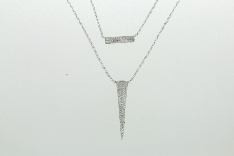 Lūvente Ladies 14kt White Gold Diamond Bar/Cone Necklace