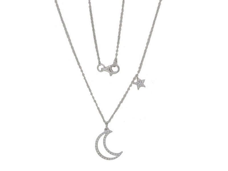 Lūvente 14kt White Gold Diamond Moon and Stars Necklace