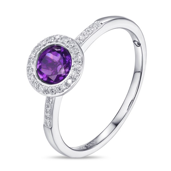 Lūvente 14kt White Gold Diamond and Amethyst Bezel Set Ring