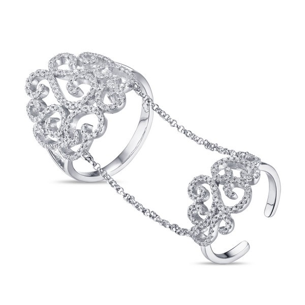 Lūvente . Ladies 14kt White Gold Diamond Swirl Chain Ring