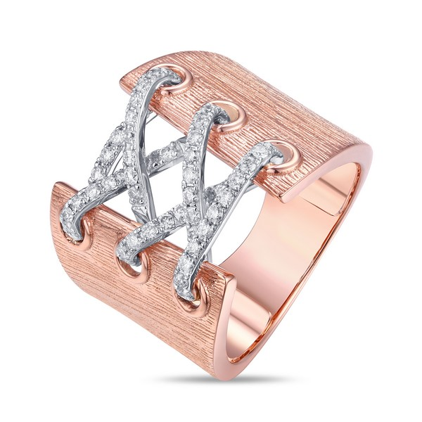 Lūvente Ladies 14kt Rose Gold Corset Ring