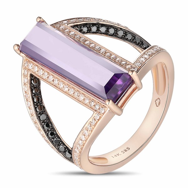 Lūvente 14kt Rose Gold Diamond and Amethyst Ring