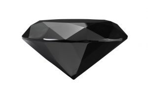 Round brilliant cut black diamond a rare precious gemstone