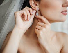 Wedding jewelry, bride with diamond earrings